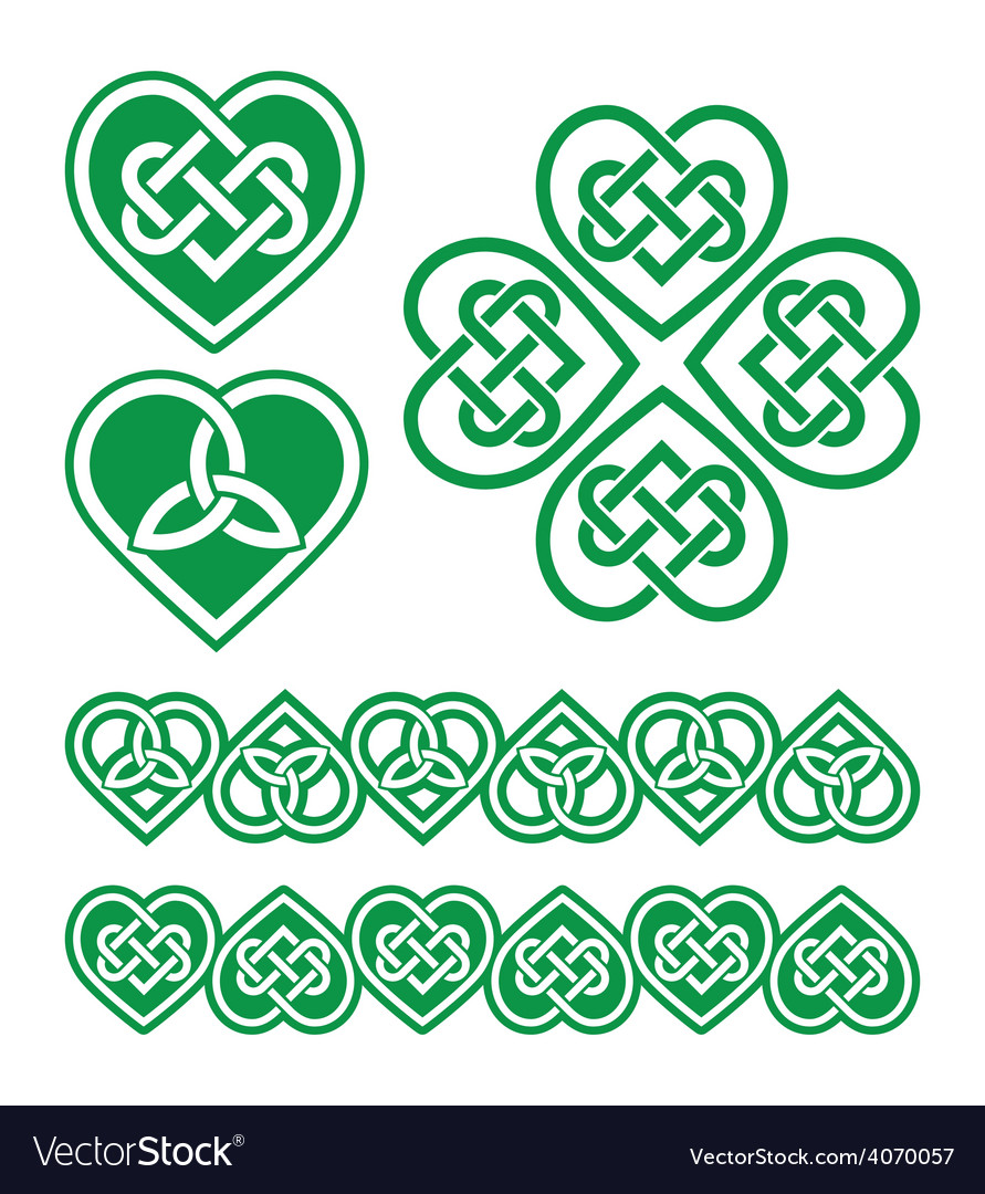 Irish scottish celtic green heart pattern vector | Price: 1 Credit (USD $1)