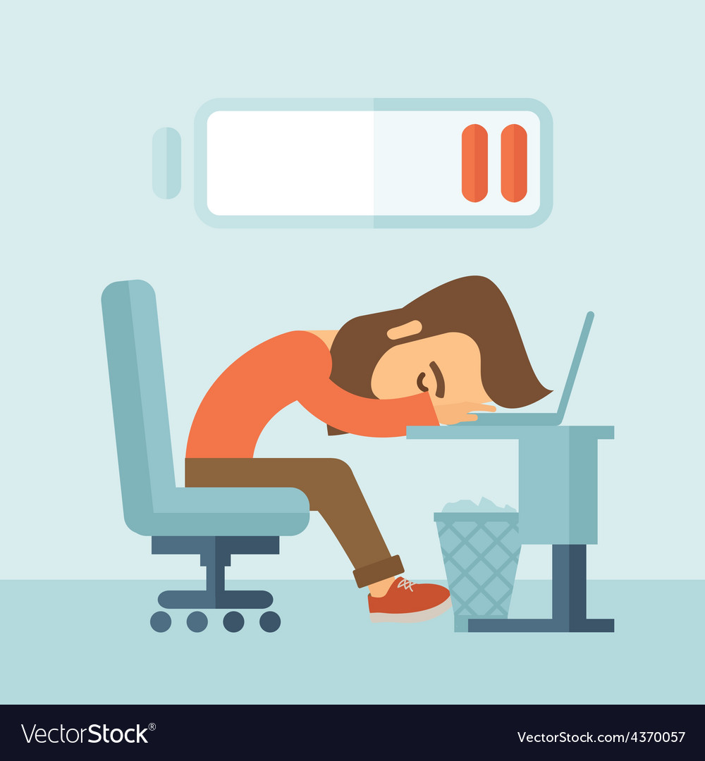Lying tired employee vector | Price: 1 Credit (USD $1)