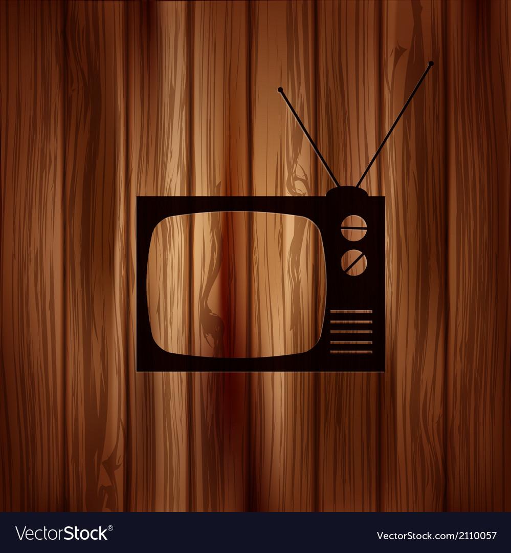 Retro tv icon wooden background vector | Price: 1 Credit (USD $1)