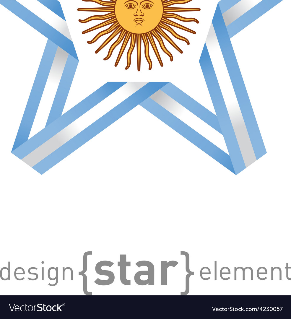 Star with argentinian flag colors and symbols vector | Price: 1 Credit (USD $1)