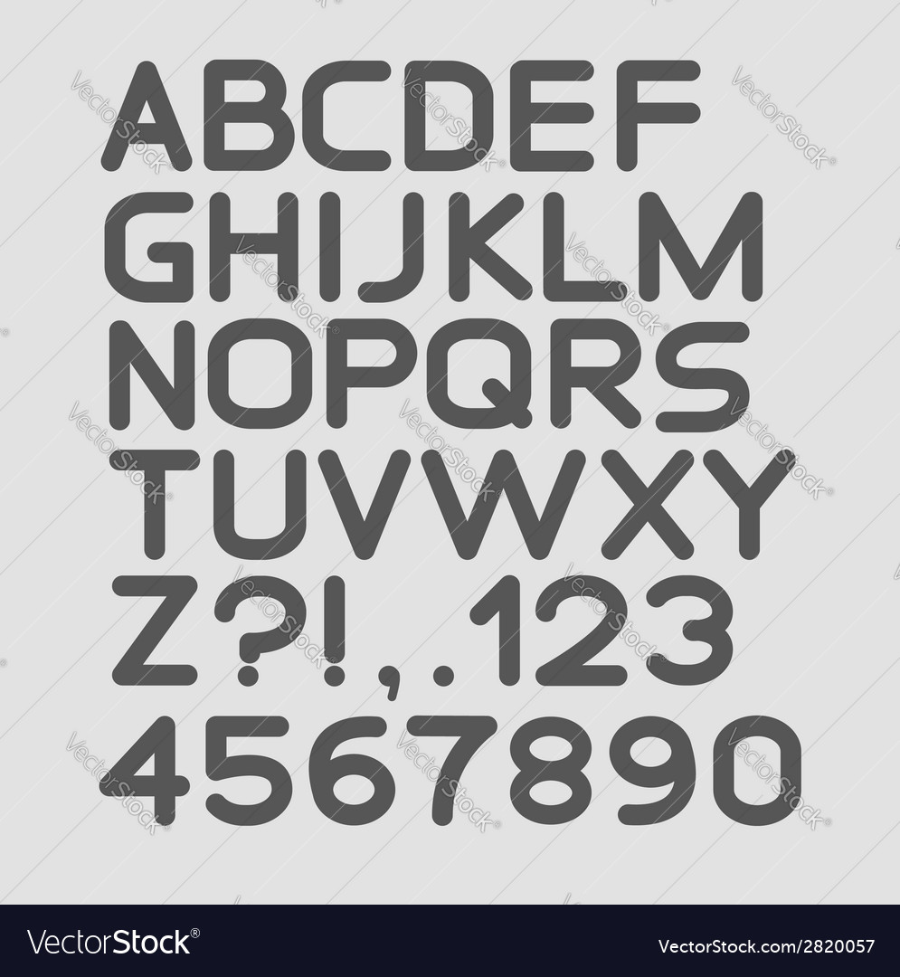 Strict alphabet rounded isolated on white vector | Price: 1 Credit (USD $1)