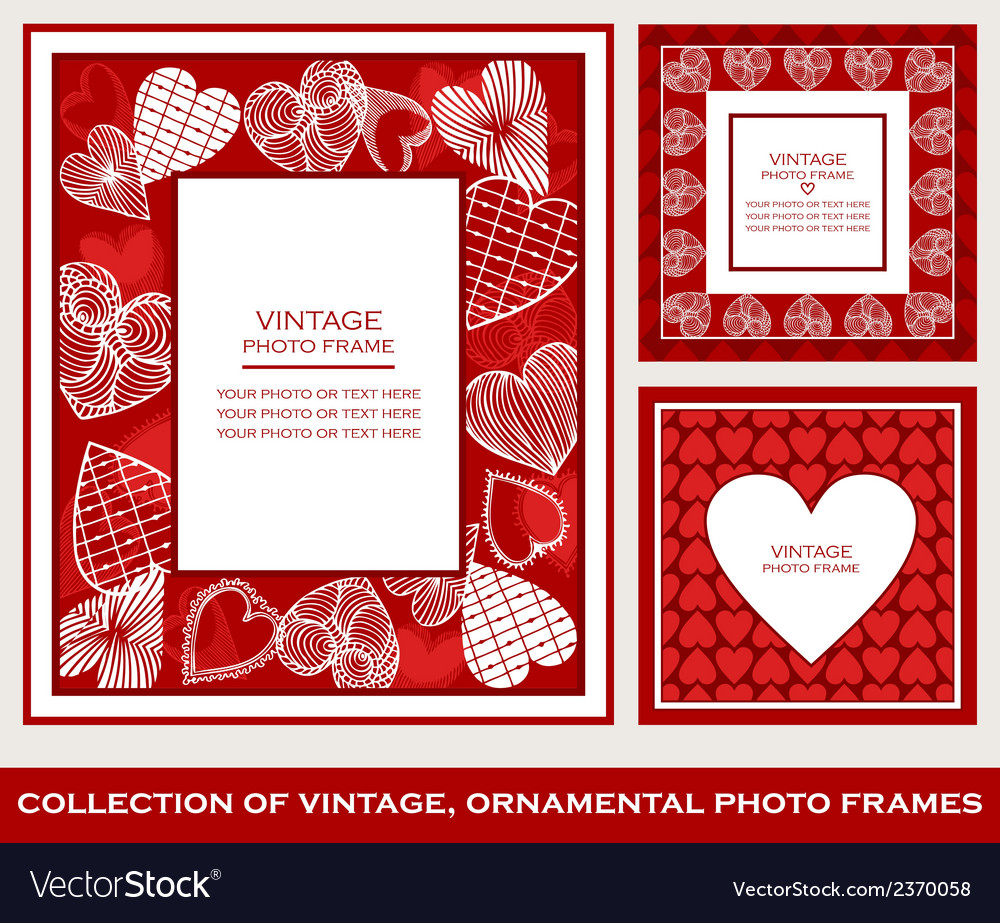 Abstract retro photo frames st valentines day vector | Price: 1 Credit (USD $1)
