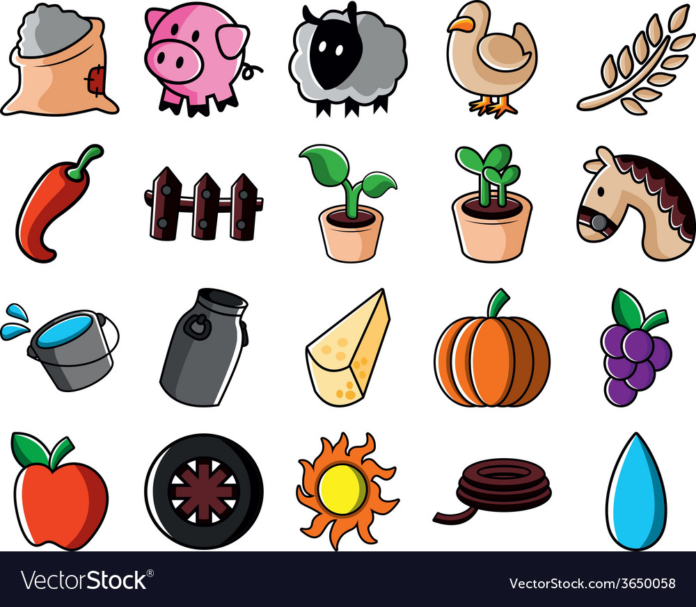 Agricultural icon set vector   Price: 1 Credit (USD $1)