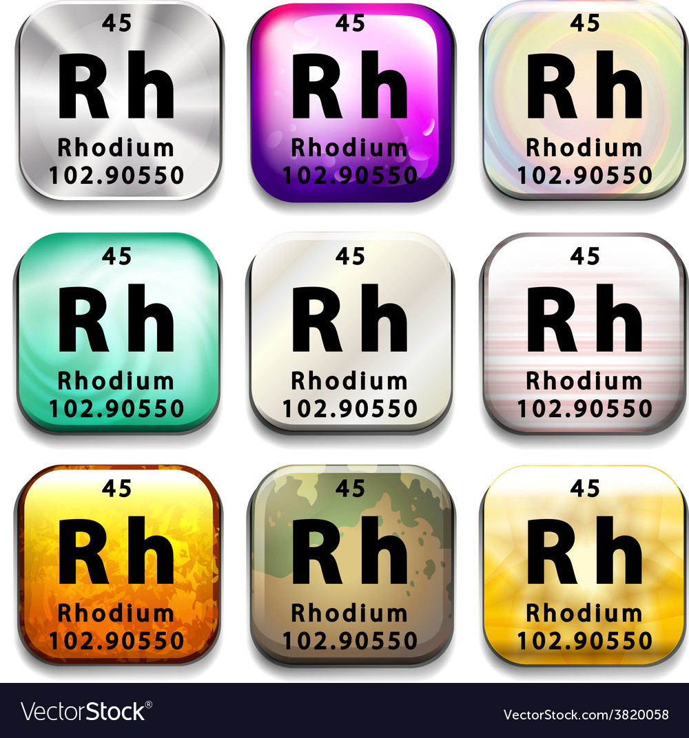 An icon showing the chemical rhodium vector | Price: 1 Credit (USD $1)