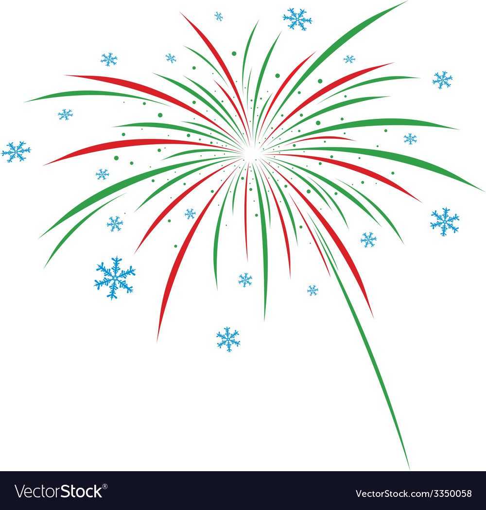 Christmas firework design on white background vector | Price: 1 Credit (USD $1)
