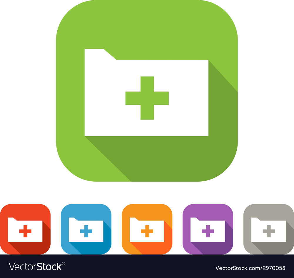Color set of flat folder with plus vector | Price: 1 Credit (USD $1)