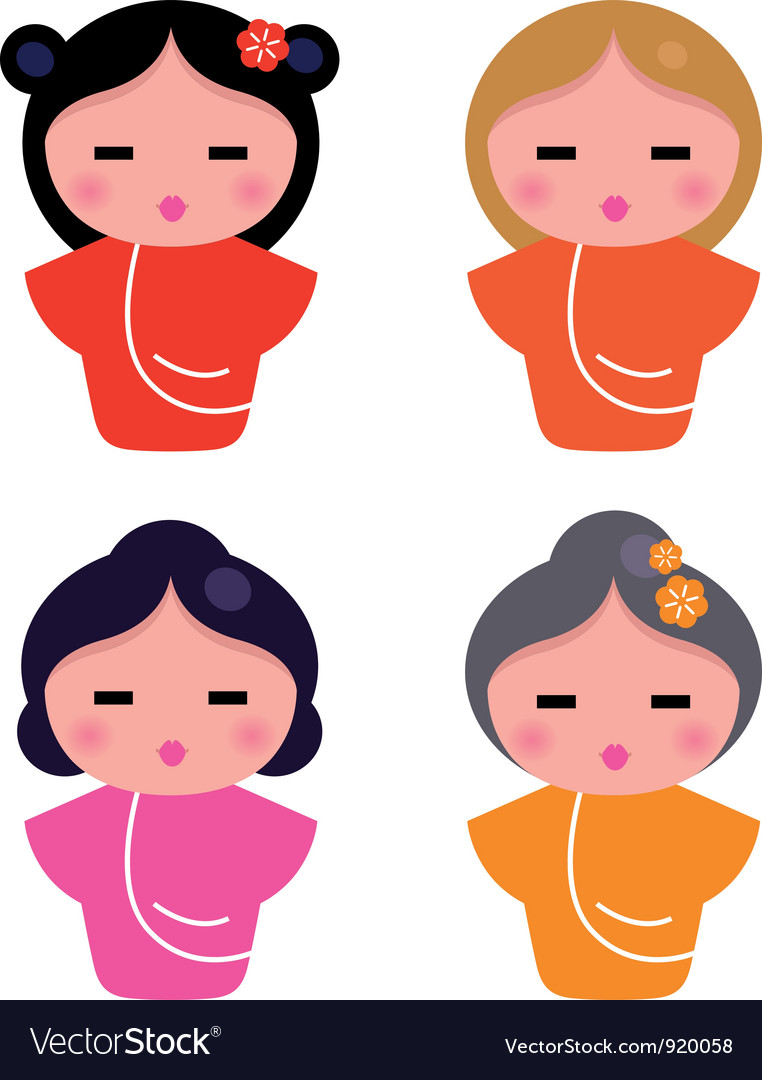 Cute little geisha set isolated on white vector