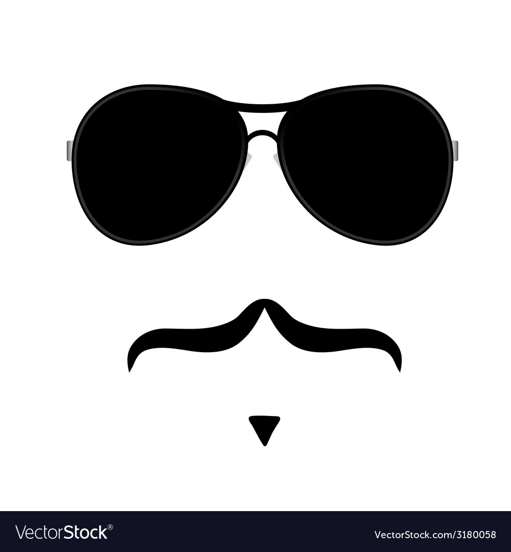 Face with mustache four vector | Price: 1 Credit (USD $1)