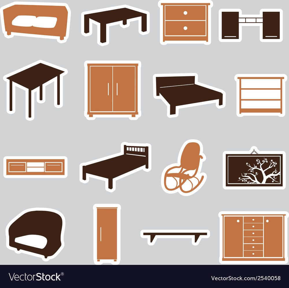 Furniture stickers eps10 vector | Price: 1 Credit (USD $1)