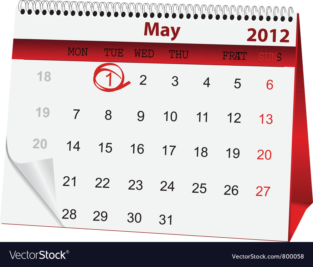 Holiday calendar for 1 may vector | Price: 1 Credit (USD $1)