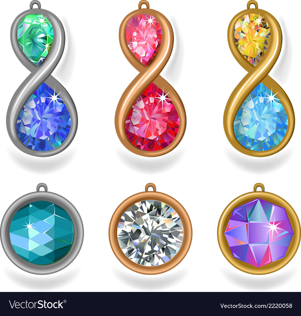 Jewelry precious metal pendants and lavalieres vector | Price: 1 Credit (USD $1)