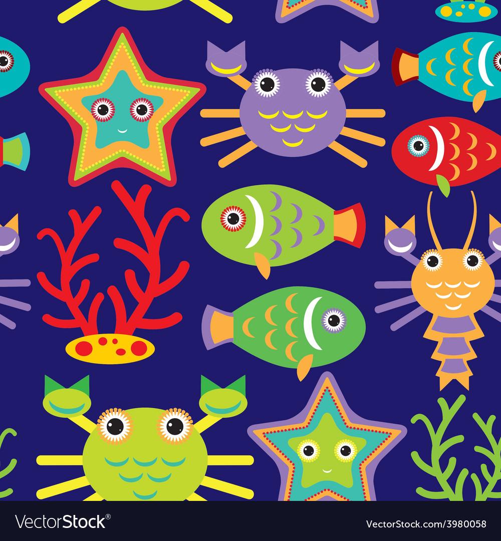 Seamless pattern with marine animals on a dark vector | Price: 1 Credit (USD $1)