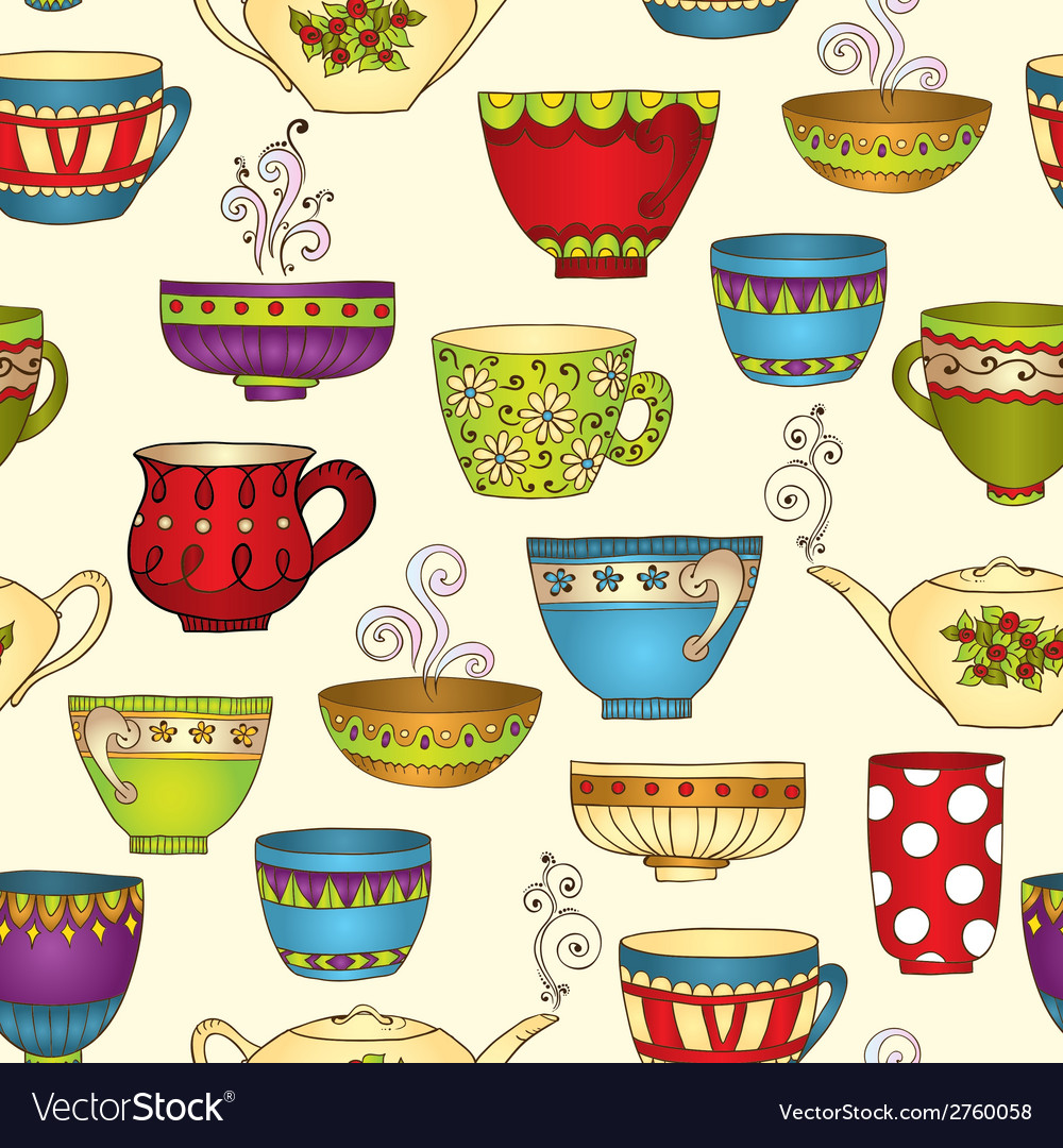 Seamless tea pattern with doodle teapots and cups vector | Price: 1 Credit (USD $1)