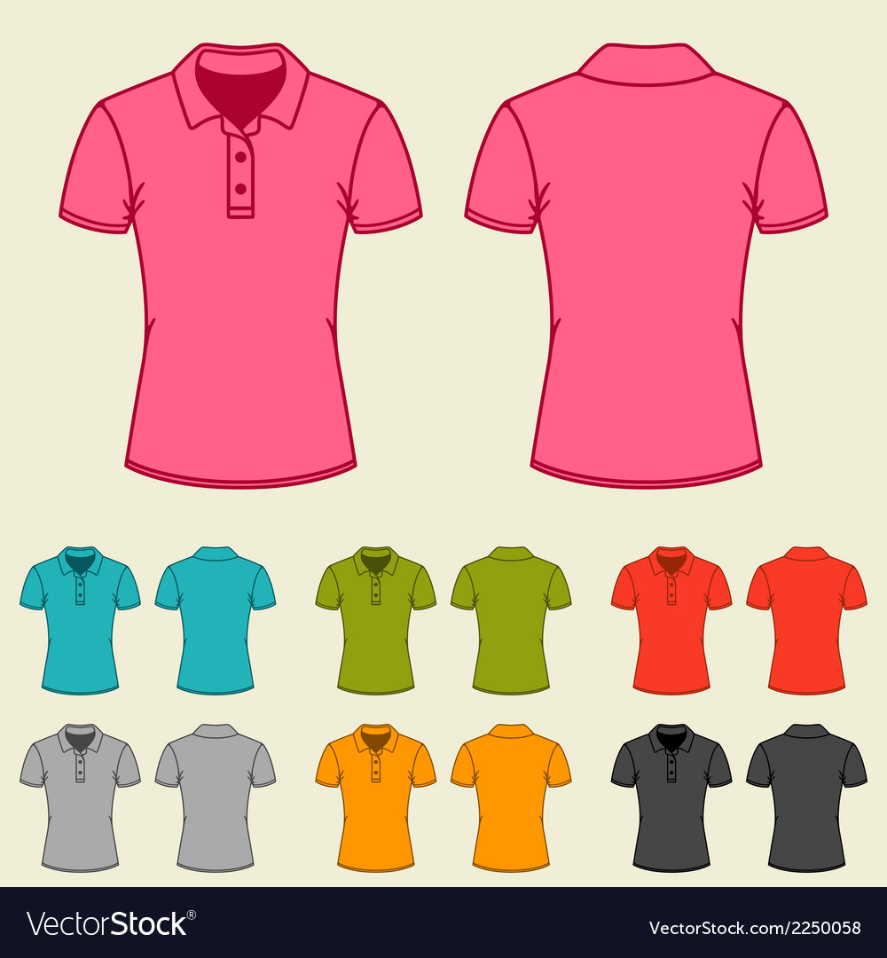 Set of templates colored polo shirts for women vector | Price: 1 Credit (USD $1)