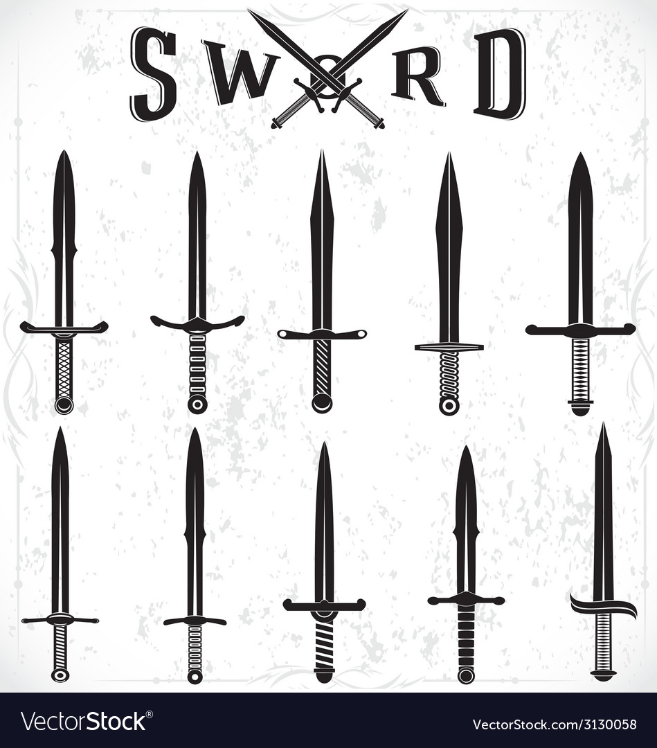 Sword silhouettes vector | Price: 1 Credit (USD $1)