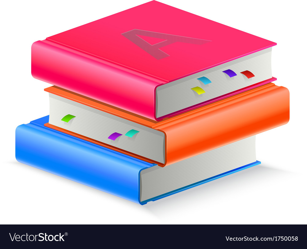 Three book with bookmark vector | Price: 1 Credit (USD $1)