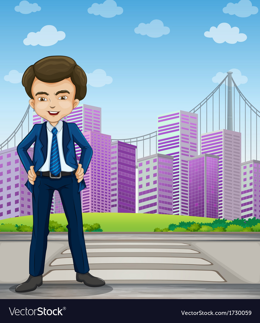 A handsome businessman standing at the pedestrian vector | Price: 1 Credit (USD $1)