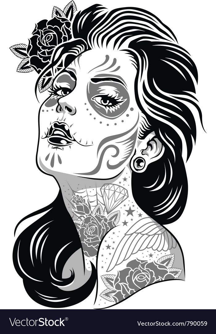 Day of dead girl black and white vector | Price: 3 Credit (USD $3)