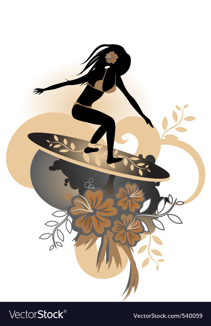 Flower surfer vector | Price: 1 Credit (USD $1)