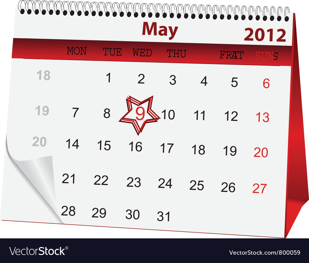 Holiday calendar for 9 may vector   Price: 1 Credit (USD $1)