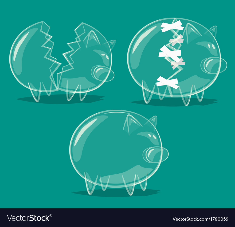 Set of glass piggy banks vector | Price: 1 Credit (USD $1)