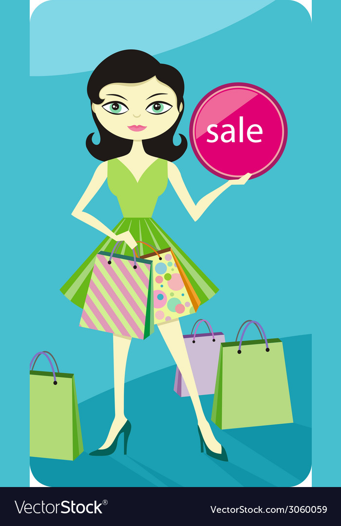Shopping sale girl showing shopping bag with lable vector | Price: 1 Credit (USD $1)
