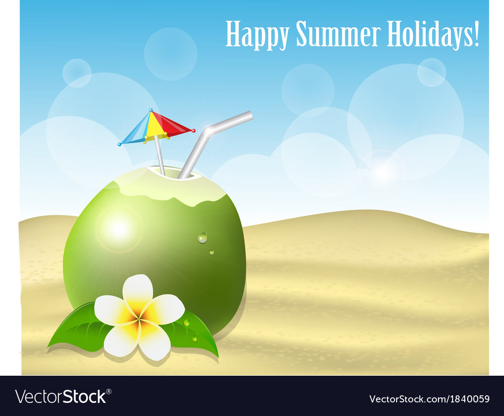 Summer background with coconut on the sand vector | Price: 1 Credit (USD $1)