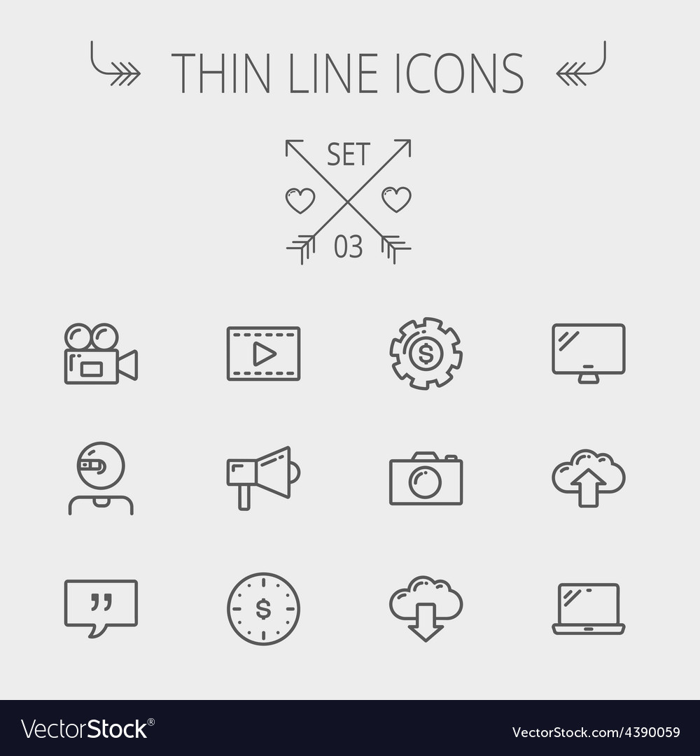 Technology thin line icon set vector | Price: 1 Credit (USD $1)