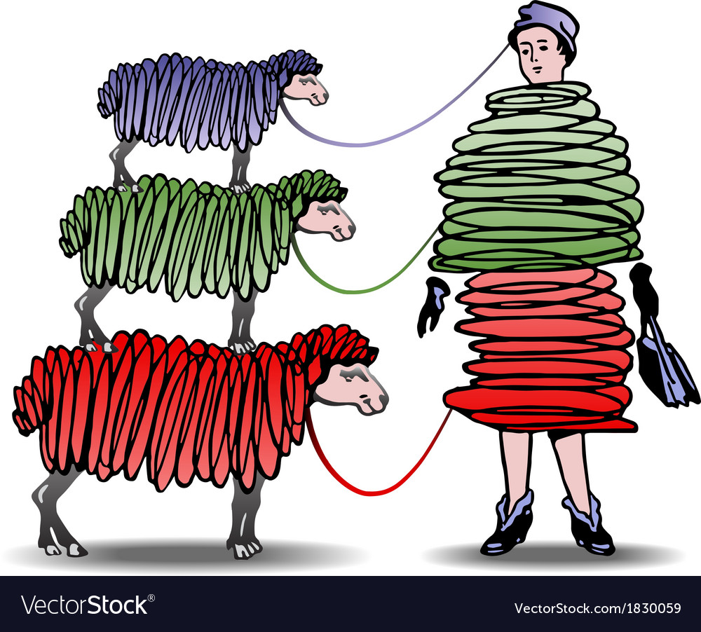 Three sheep knitting woman a dress vector | Price: 1 Credit (USD $1)