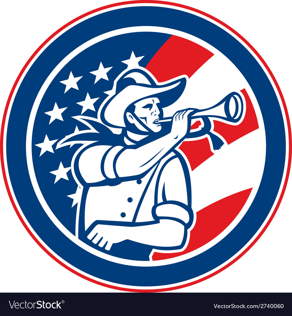 American cavalry soldier blowing bugle circle vector | Price: 1 Credit (USD $1)