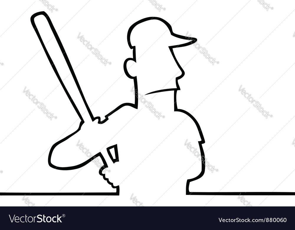 Baseball player with bat vector | Price: 1 Credit (USD $1)