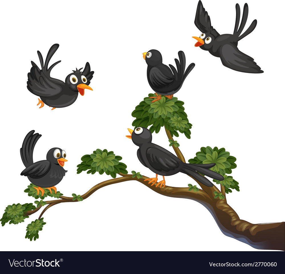 Black birds vector | Price: 1 Credit (USD $1)