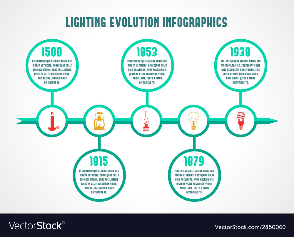 Flashlight and lamps infographic vector | Price: 1 Credit (USD $1)