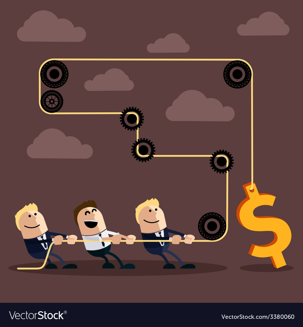 Happy businessman pulling rope with dollar vector | Price: 1 Credit (USD $1)