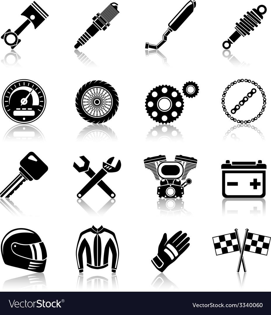 Motorcycle parts black set vector | Price: 1 Credit (USD $1)