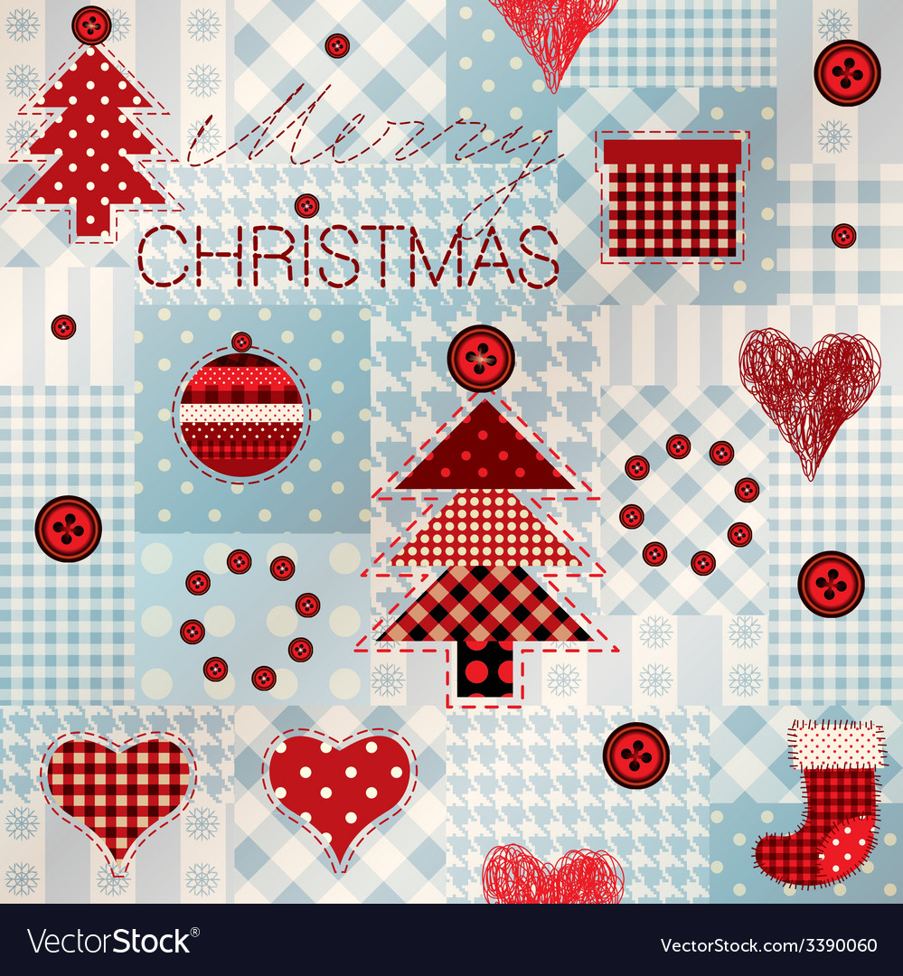 Pattern in patchwork style merry christmas vector | Price: 1 Credit (USD $1)