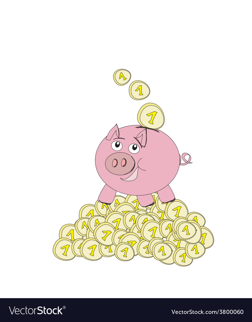 Piggy bank - doodle vector | Price: 1 Credit (USD $1)