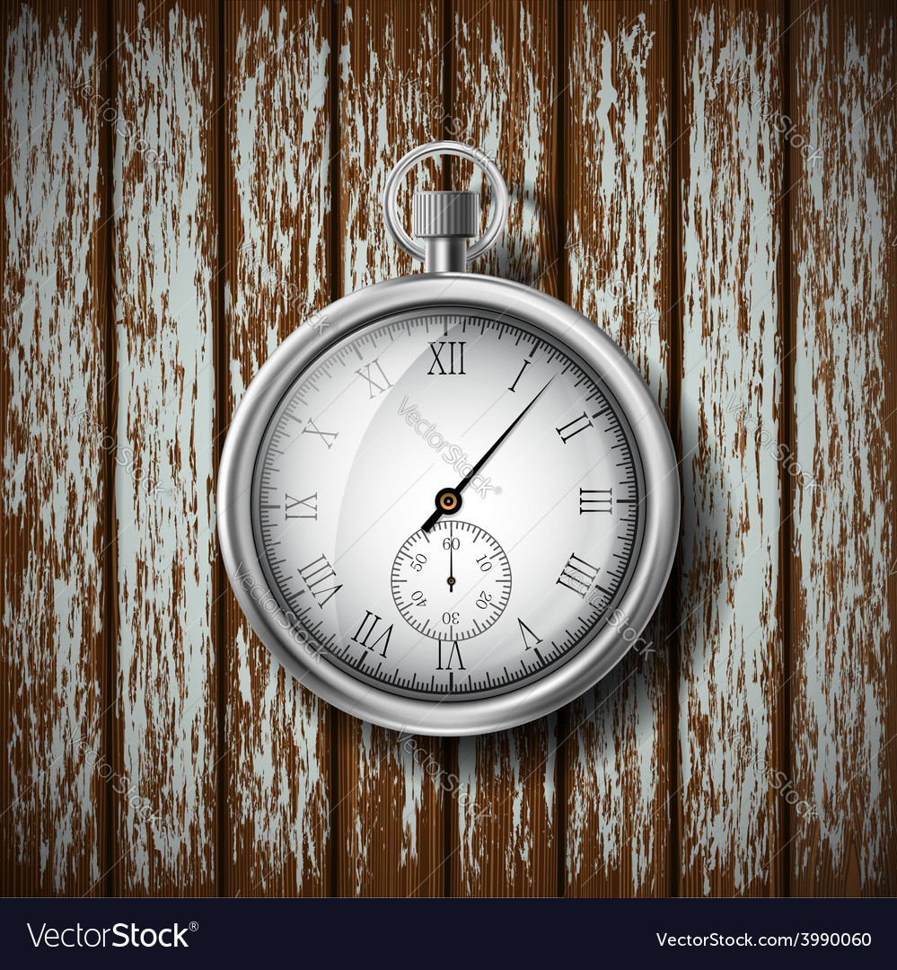 Pocket watch lying on a wooden surface vector | Price: 1 Credit (USD $1)