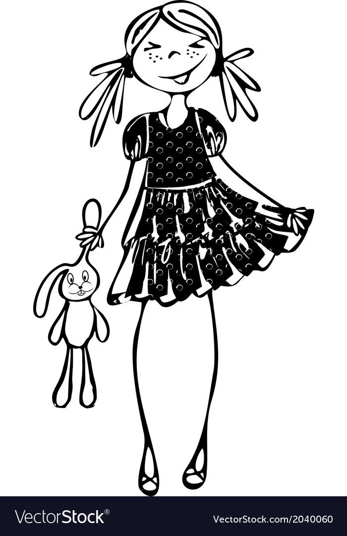 Pretty girl silhouette vector | Price: 1 Credit (USD $1)