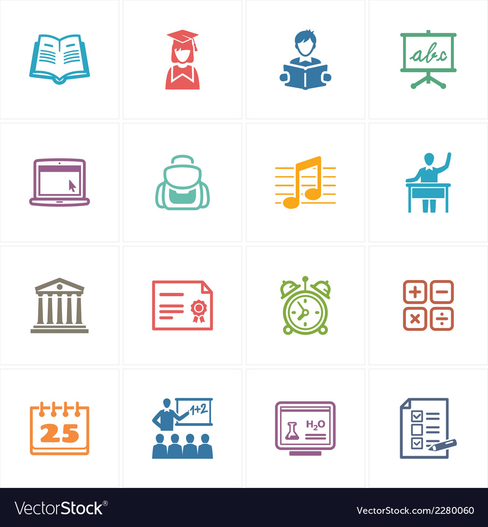 School and education icons set 2 - colored series vector   Price: 1 Credit (USD $1)