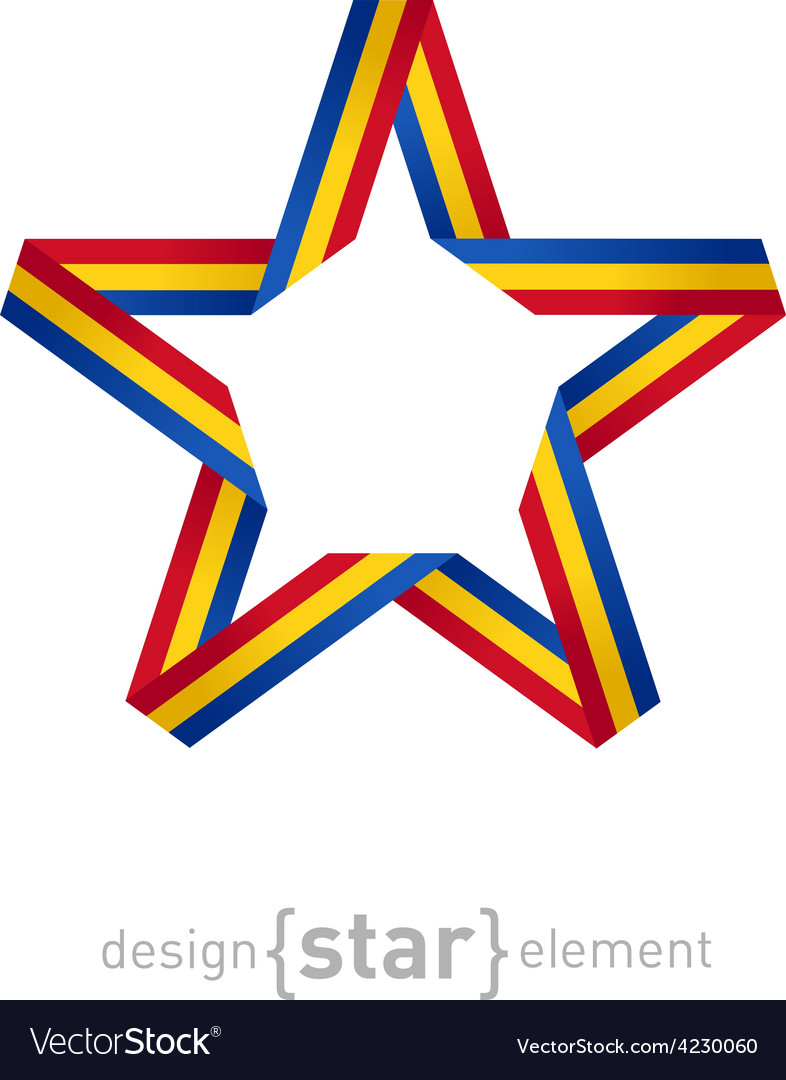 Star with flag of romania colors vector   Price: 1 Credit (USD $1)