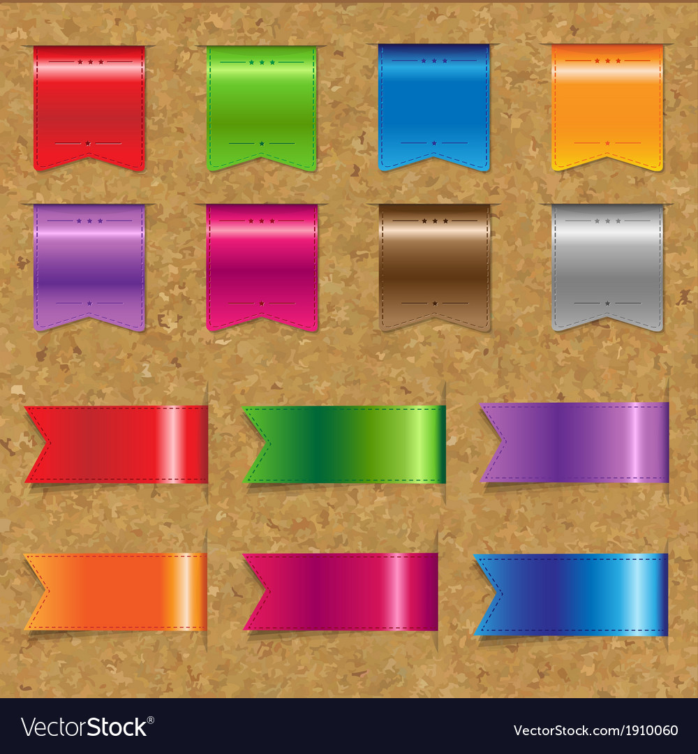 Web color ribbons big set with cork vector | Price: 1 Credit (USD $1)