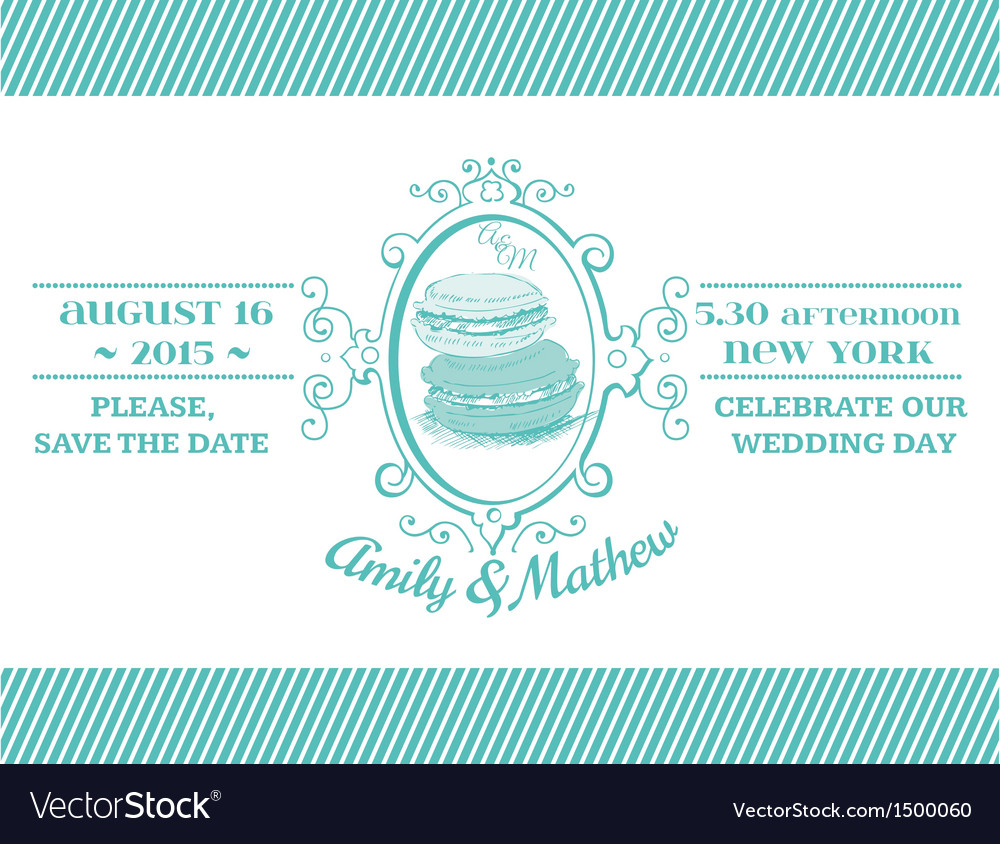Wedding vintage invitation - macaroon theme vector | Price: 1 Credit (USD $1)