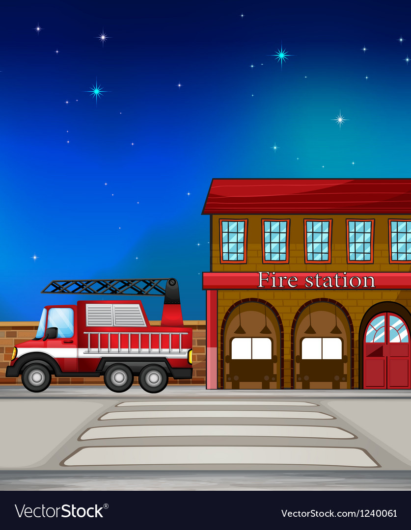 A fire truck near the fire station vector | Price: 1 Credit (USD $1)