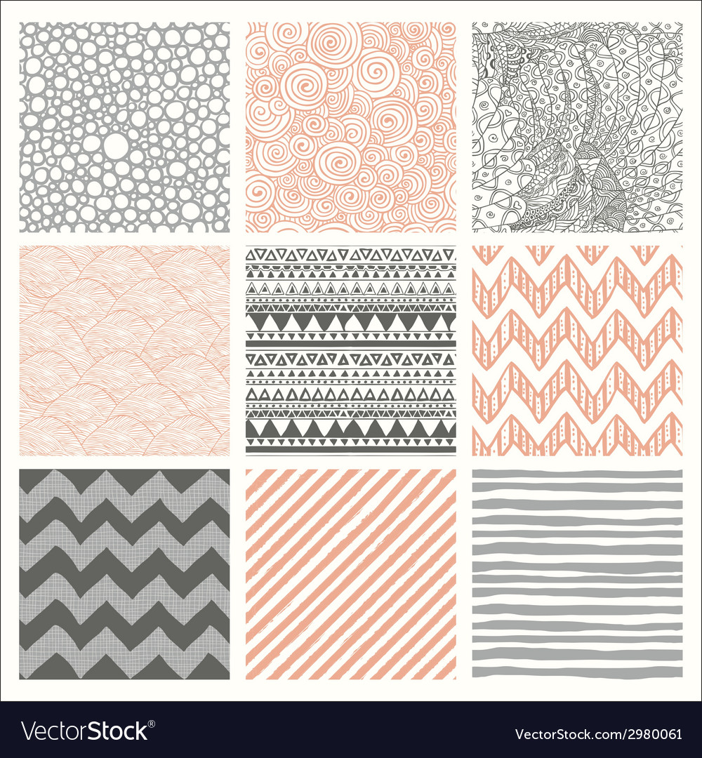 Abstract hand drawn seamless background patterns vector | Price: 1 Credit (USD $1)