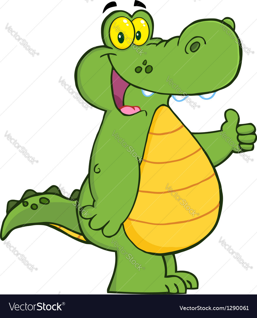 Alligator or crocodile showing thumbs up vector | Price: 1 Credit (USD $1)