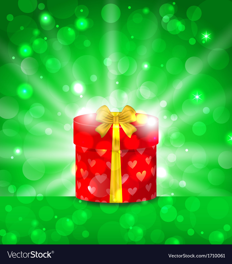 Christmas round gift box on light background vector | Price: 1 Credit (USD $1)