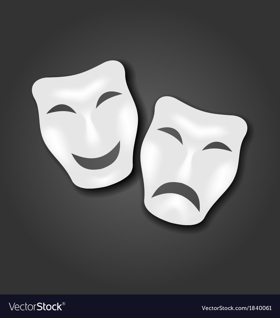 Comedy and tragedy masks for carnival or theatre vector | Price: 1 Credit (USD $1)