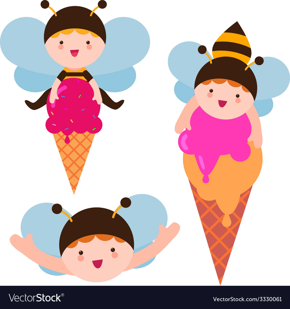 Cute bee babies with ice cream vector | Price: 1 Credit (USD $1)