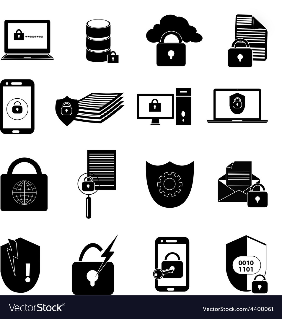 Data protection icons set vector   Price: 1 Credit (USD $1)